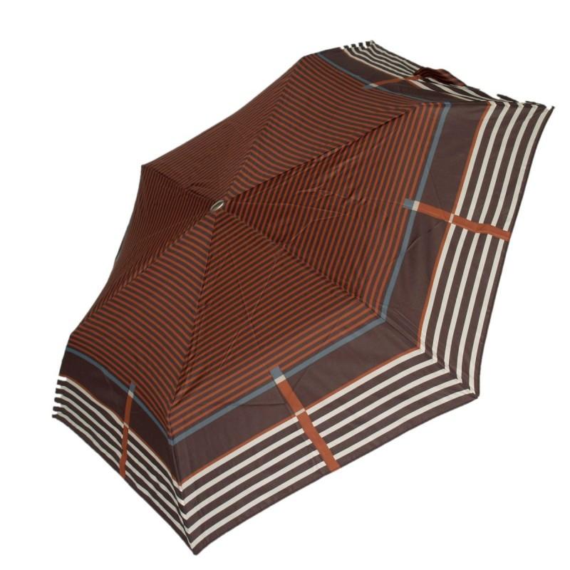 Parasol Doppler Slim lekki  płaski brązowe pasy