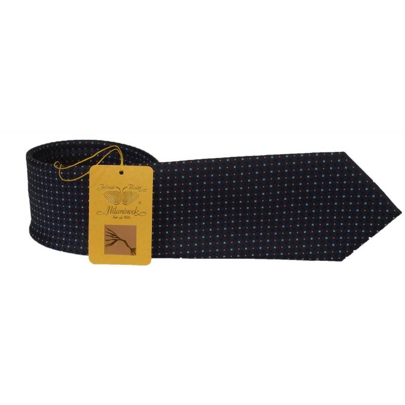 Milanówek krawat jedwabny żakardowy granat,kropki.