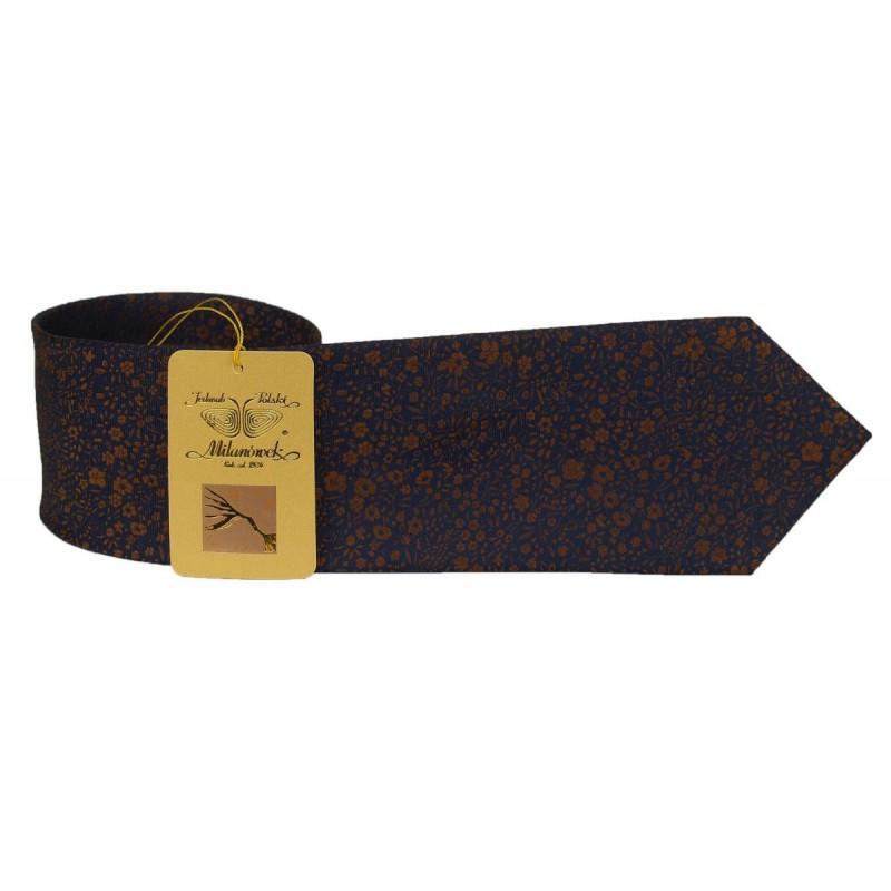 Milanówek krawat jedwabny żakardowy złoto i granat