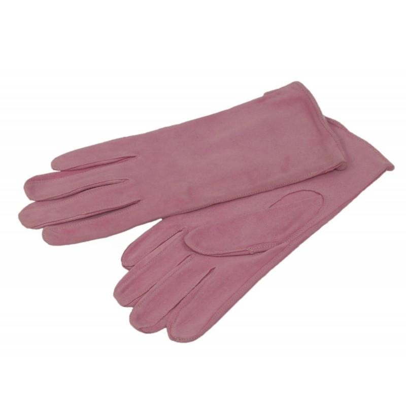 Rękawiczki damskie letnie skórzane różowe zamsz M