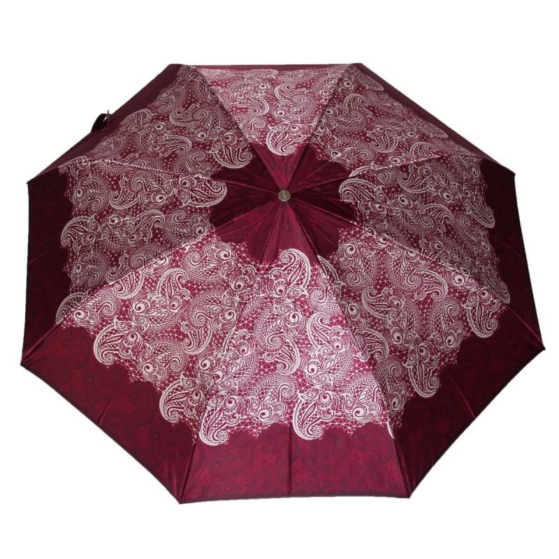 Parasol Doppler satyna haftowane kwiaty w winie