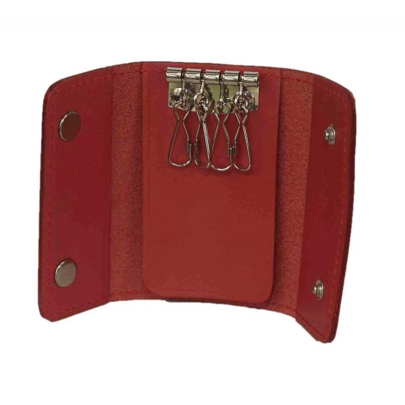 Etui na klucze zapinane jak portfelik czerwone .