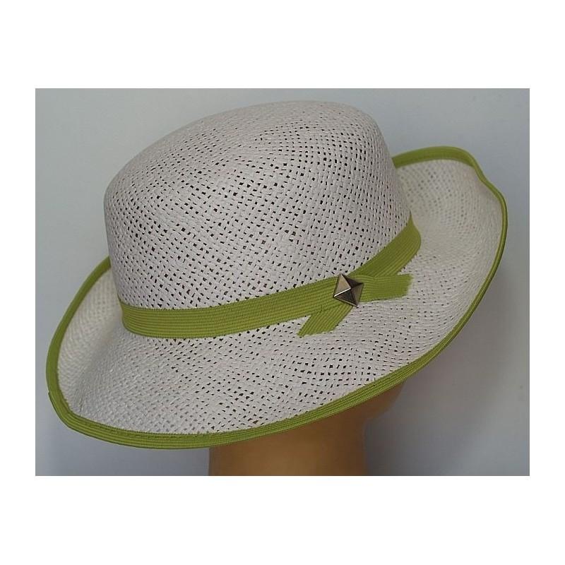 Kapelusz słomkowy damski biały z zieloną taśmą 56