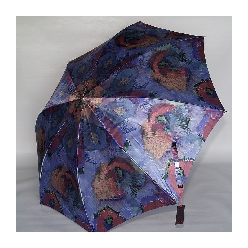 Parasol M&P satyna filetowa akwarela łaka nocą